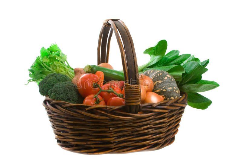 Cesta de vegetais do mercado imagens de stock