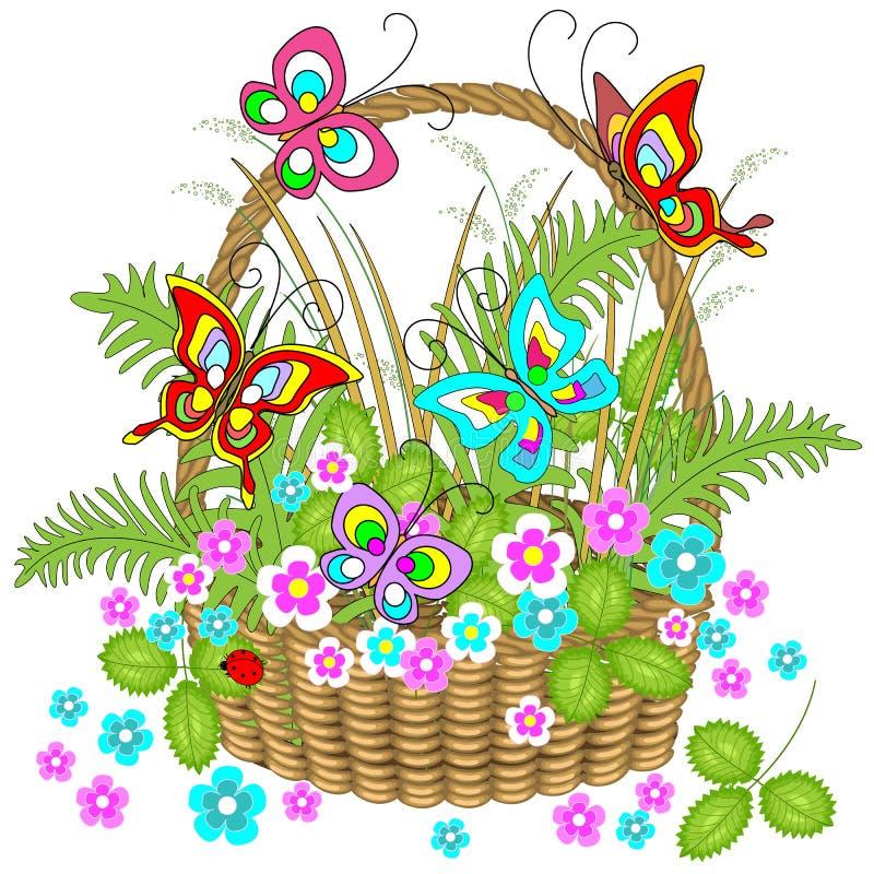 Cesta de vime bonita completamente de plantas da floresta As flores delicadas, borboletas de encantamento vibram sobre eles Ilust ilustração stock