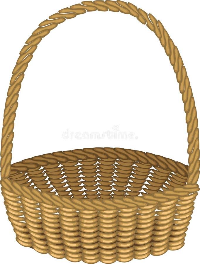 Cesta de vime bonita handmade Para a compra, transporte dos produtos para um piquenique Conveniente recolher cogumelos, bagas ilustração royalty free