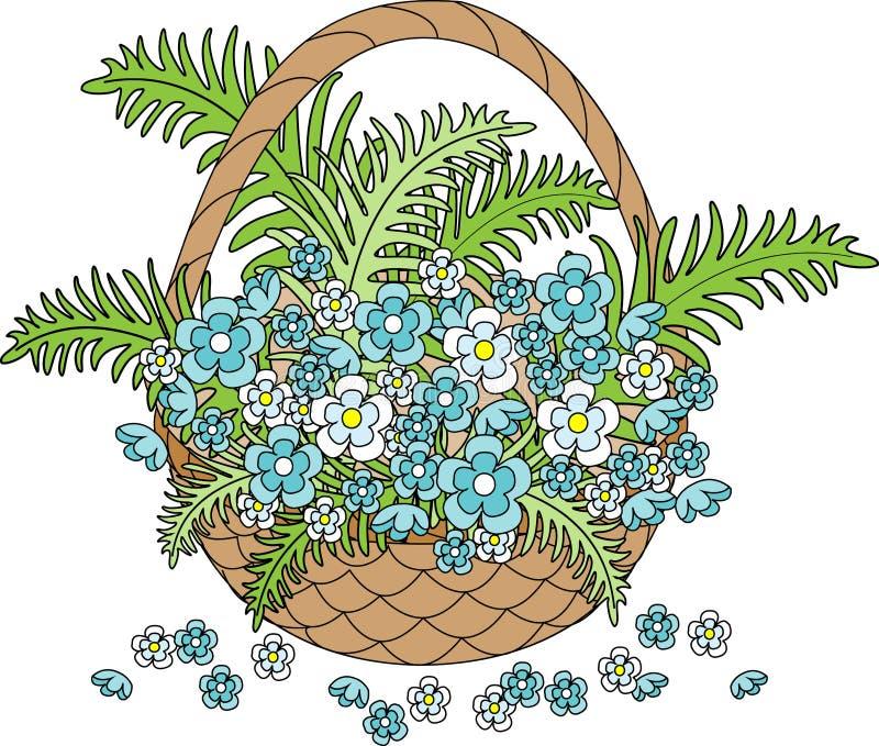 Cesta de vime com as flores azuis bonitas Mola, o auge da natureza Cart?o do feriado Ilustra??o do vetor ilustração do vetor