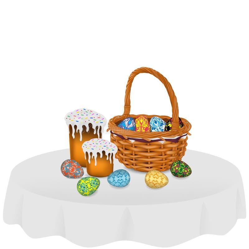 Cesta de vime com ovos da páscoa, dois bolos da Páscoa e os ovos da páscoa separados na tabela, isolada em um fundo branco ilustração royalty free