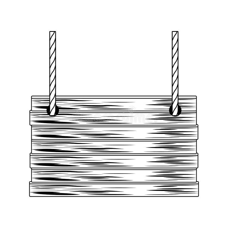 A cesta de vime esquadrada com os punhos da corda isolou preto e branco ilustração do vetor