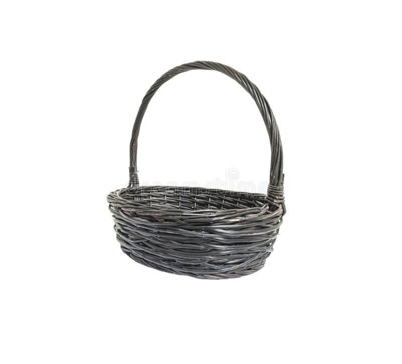 Cesta de weave de madeira preta do close up isolada no fundo branco imagens de stock
