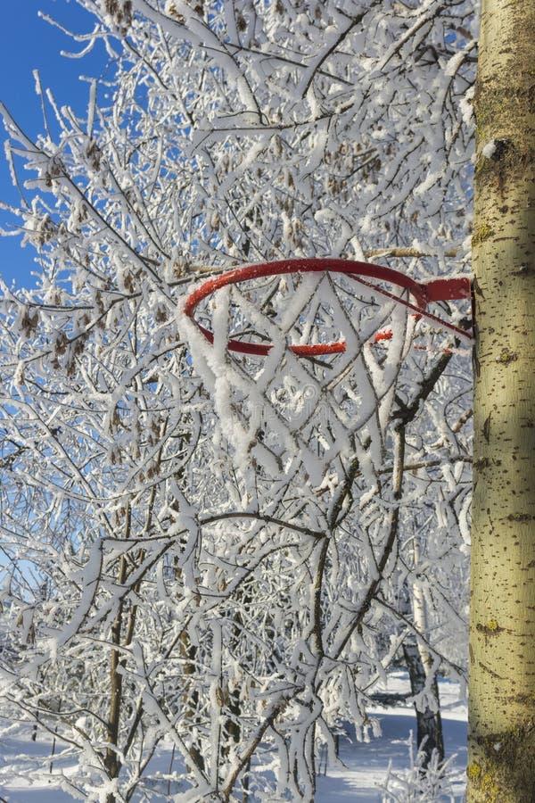 Cesta del baloncesto cubierta con nieve fotos de archivo