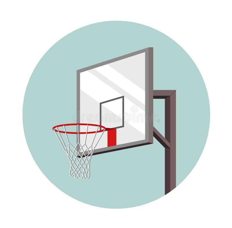 Cesta del baloncesto inscrita en un círculo Equipo para los deportes Juego de pelota ilustración del vector