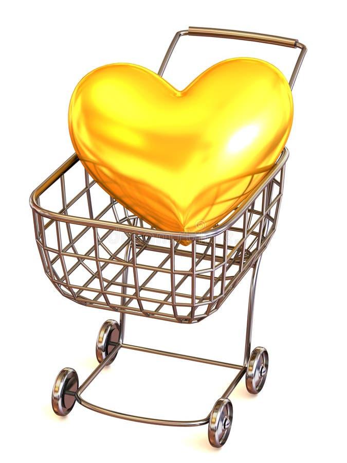Cesta del consumidor con el corazón ilustración del vector
