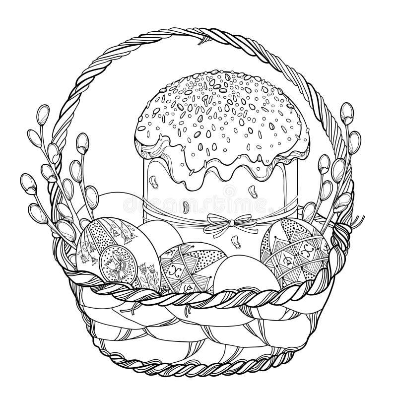 Cesta del esquema del vector con la torta o Paska de Pascua, huevo de Pascua ucraniano Pysanka y ramita del sauce en negro aislad ilustración del vector