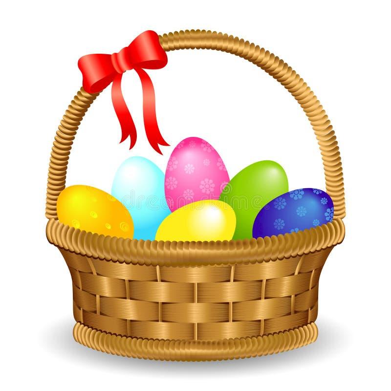 Cesta del huevo de Pascua con el arco ilustración del vector