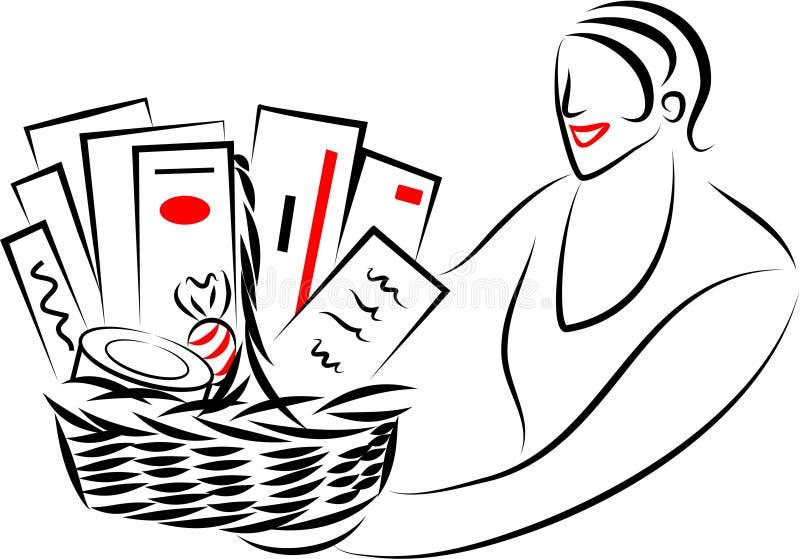 Cesta del regalo stock de ilustración