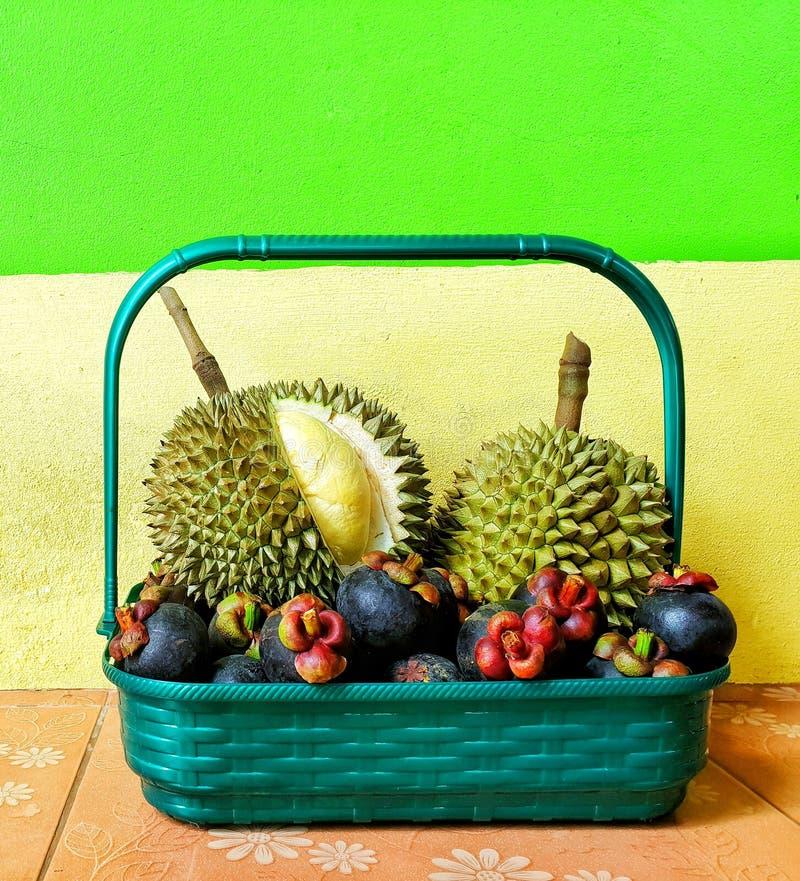 Cesta del regalo de la fruta con tema colorido del fondo imagen de archivo