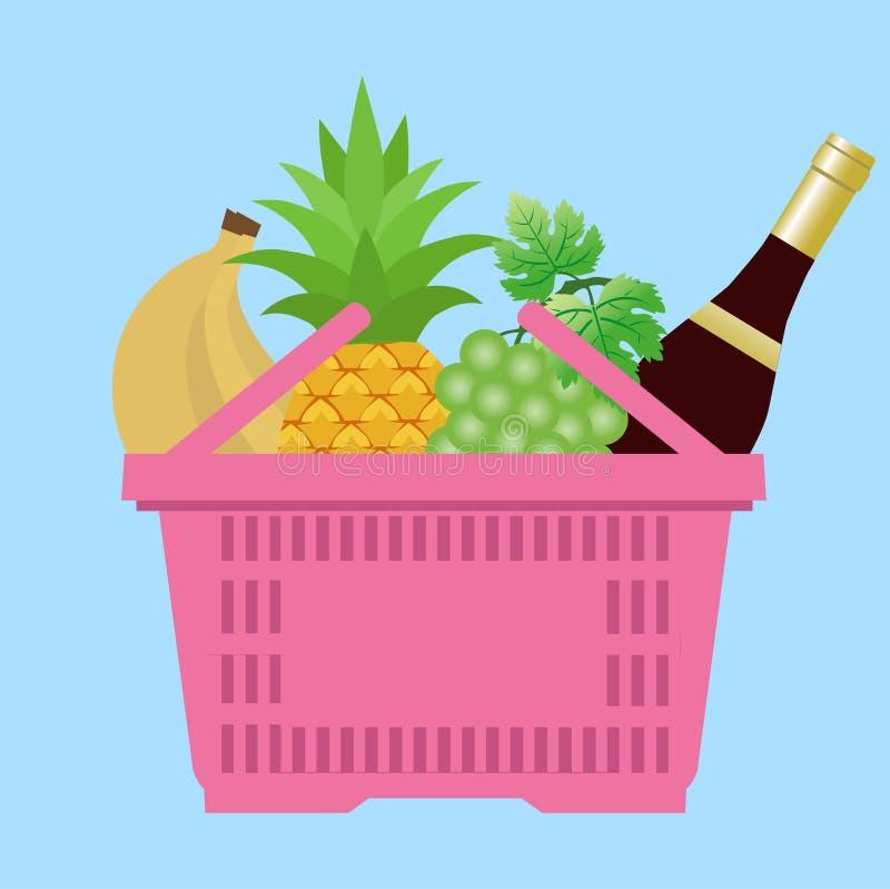 Cesta del ultramarinos - una cesta de compras con las diversas comidas y bebidas ejemplo en el estilo plano, plantilla del diseño ilustración del vector