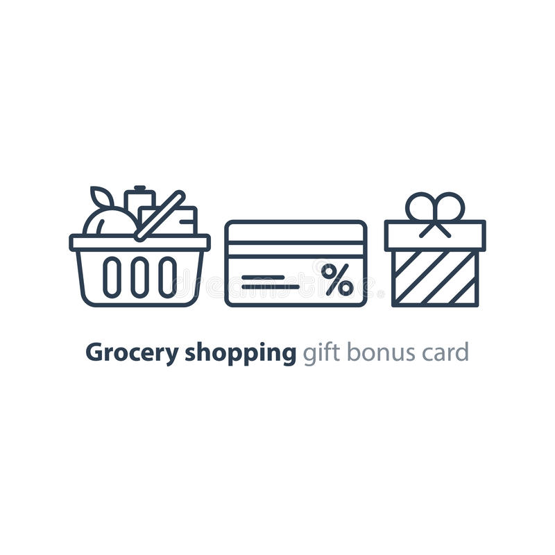 A cesta do alimento, ordem do mantimento, compra oferta especial, linha ícone do cartão do disconto do bônus ilustração stock