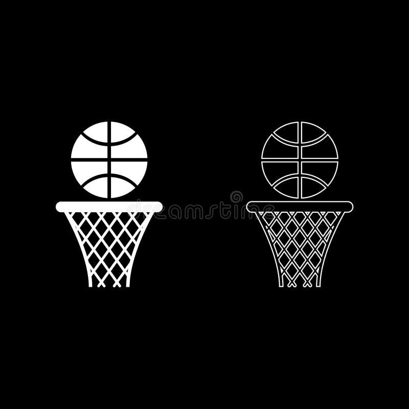 A cesta do basquetebol e a rede da aro da bola e o esboço do ícone da bola ajustaram a imagem lisa do estilo da ilustração branca ilustração royalty free