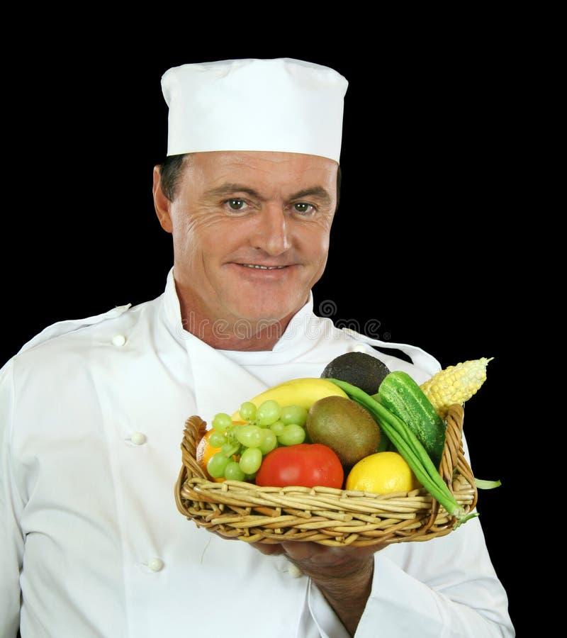 Cesta do cozinheiro chefe da fruta fotografia de stock
