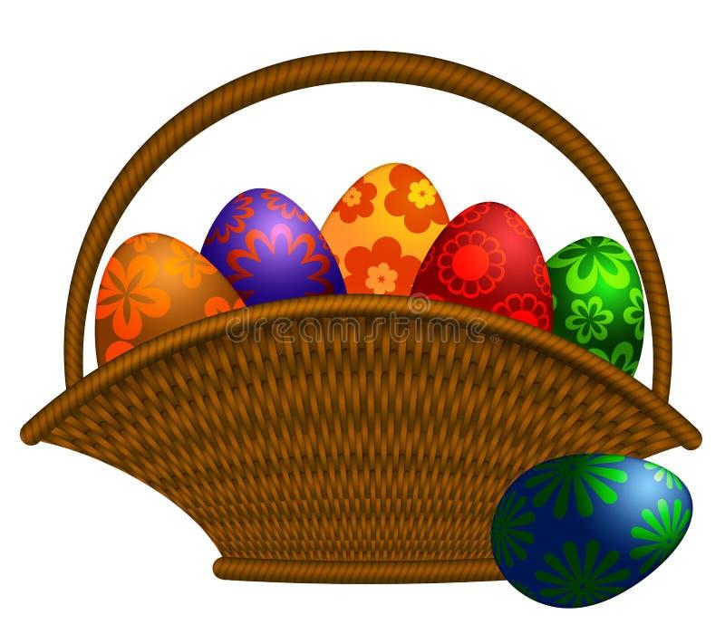A cesta do dia de Easter Eggs a ilustração ilustração stock