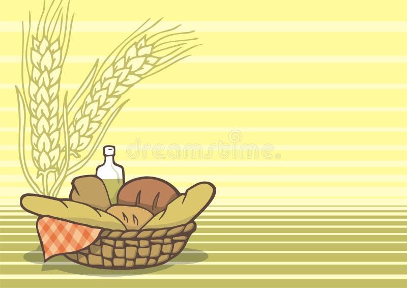 Cesta do fundo dos pães ilustração royalty free