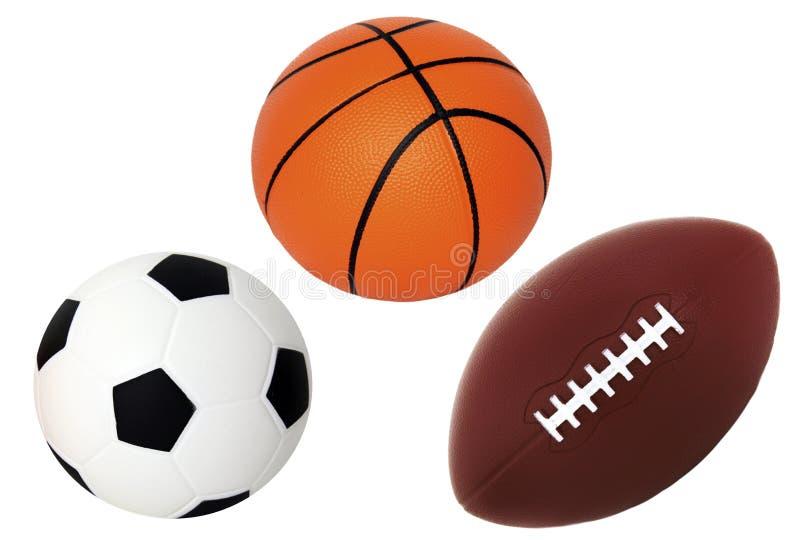 Cesta do futebol e esfera do pé isolada no branco imagens de stock royalty free