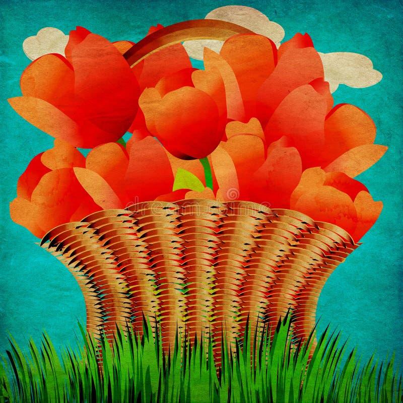 Cesta do Grunge das tulipas ilustração stock