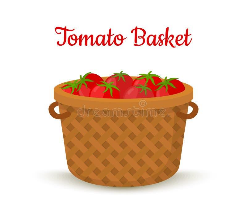 Cesta do marrom do vetor com tomates Vegetais brilhantes imagem de stock royalty free