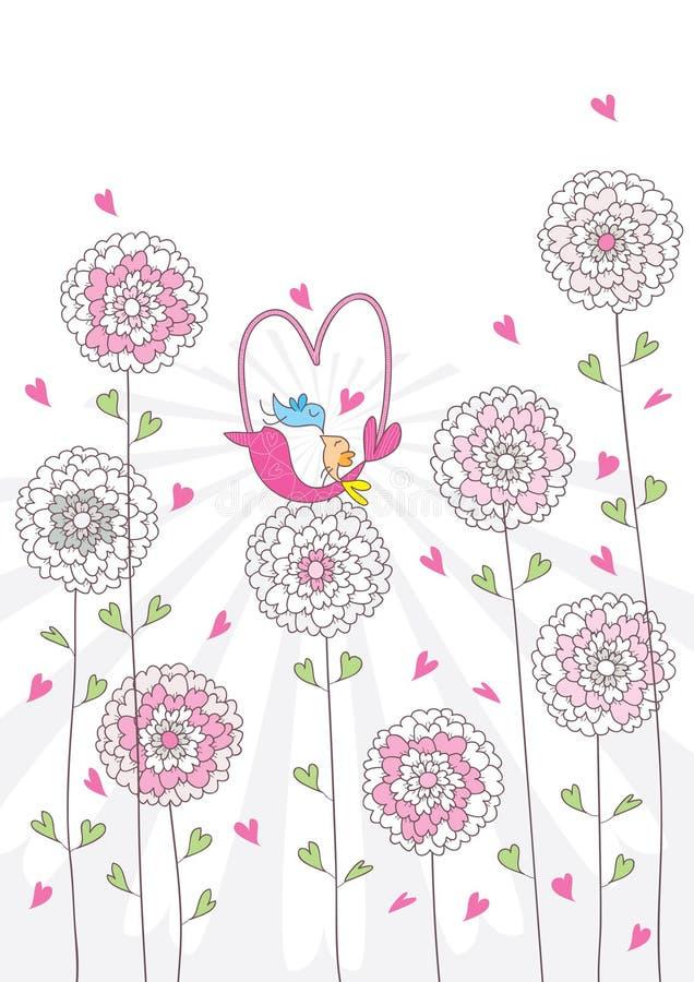 Cesta do pássaro do amor ilustração royalty free