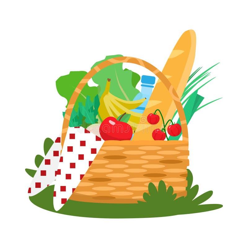 Cesta do piquenique com frutas e legumes, água, beguette e pano ilustração stock