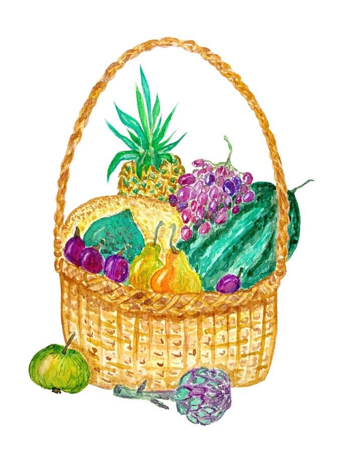 Cesta do piquenique com frutos, bagas e vegetais imagens de stock