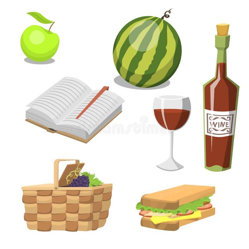 Cesta do piquenique com ilustração do vetor da refeição do verão do almoço do recipiente das férias do abrandamento do alimento ilustração stock