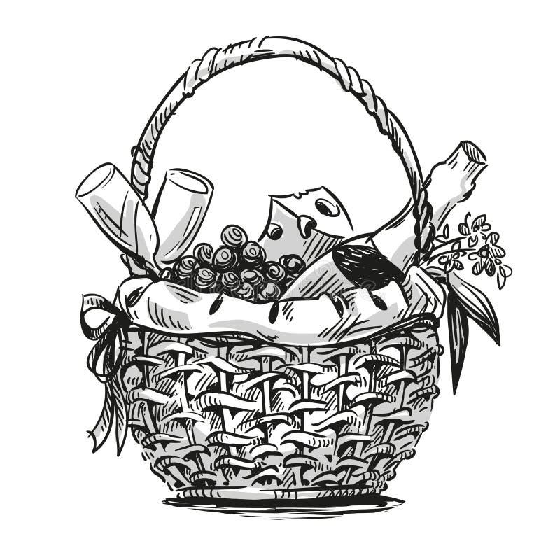Cesta do piquenique com petisco ilustração royalty free
