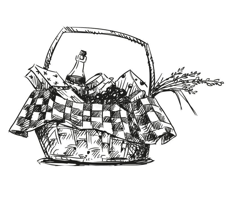 Cesta do piquenique com petisco ilustração do vetor