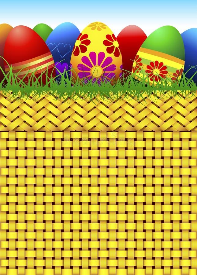 Cesta do vetor completamente de ovos de Easter ilustração royalty free