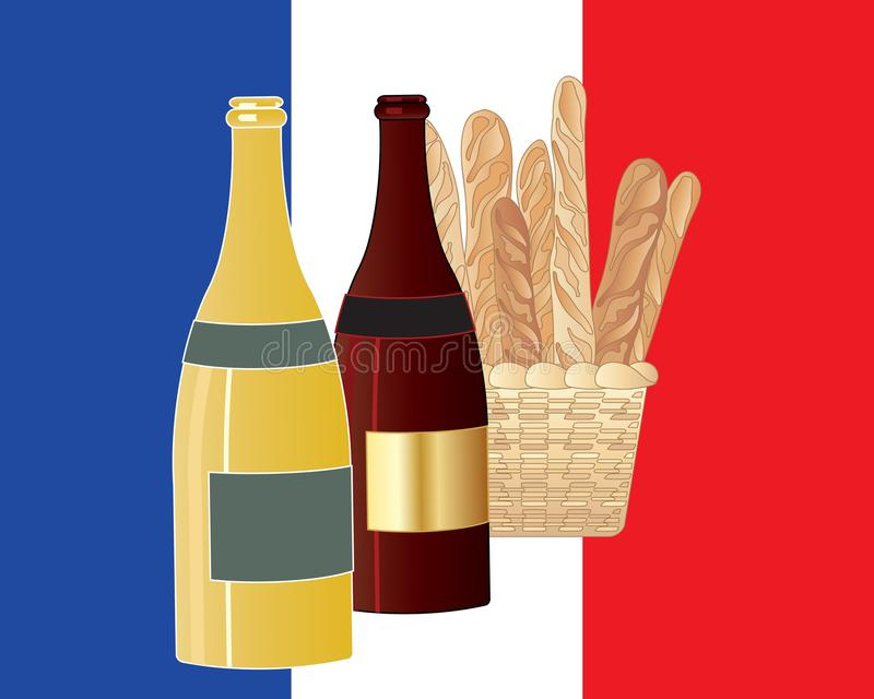 A cesta do vinho francês e do pão em uma tri cor embandeira o fundo ilustração royalty free
