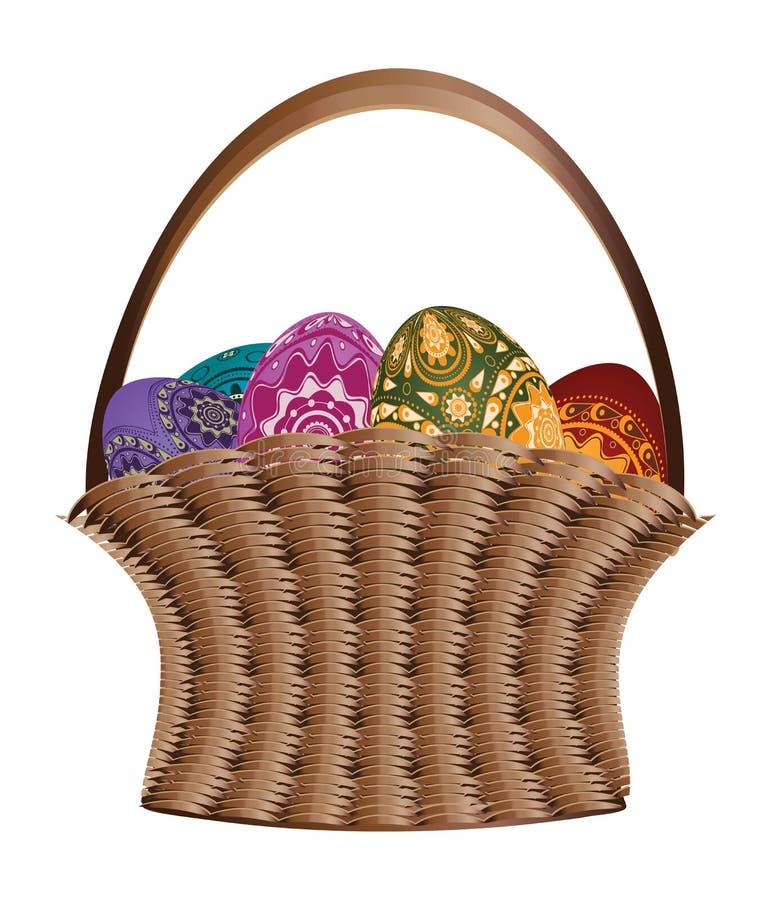 Cesta dos ovos da páscoa ilustração do vetor