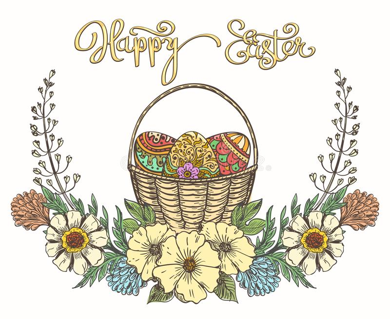 Cesta dos ovos da páscoa ilustração royalty free