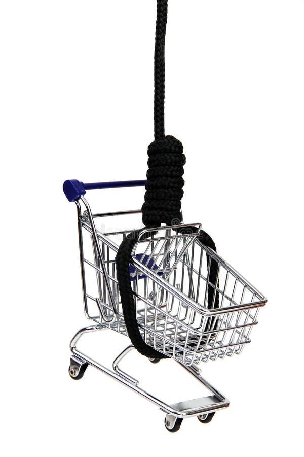 Cesta dos productos no gibbet foto de stock