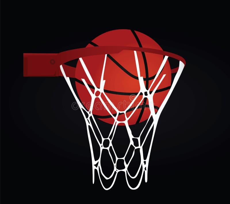 Cesta e bola do basquetebol ilustração royalty free
