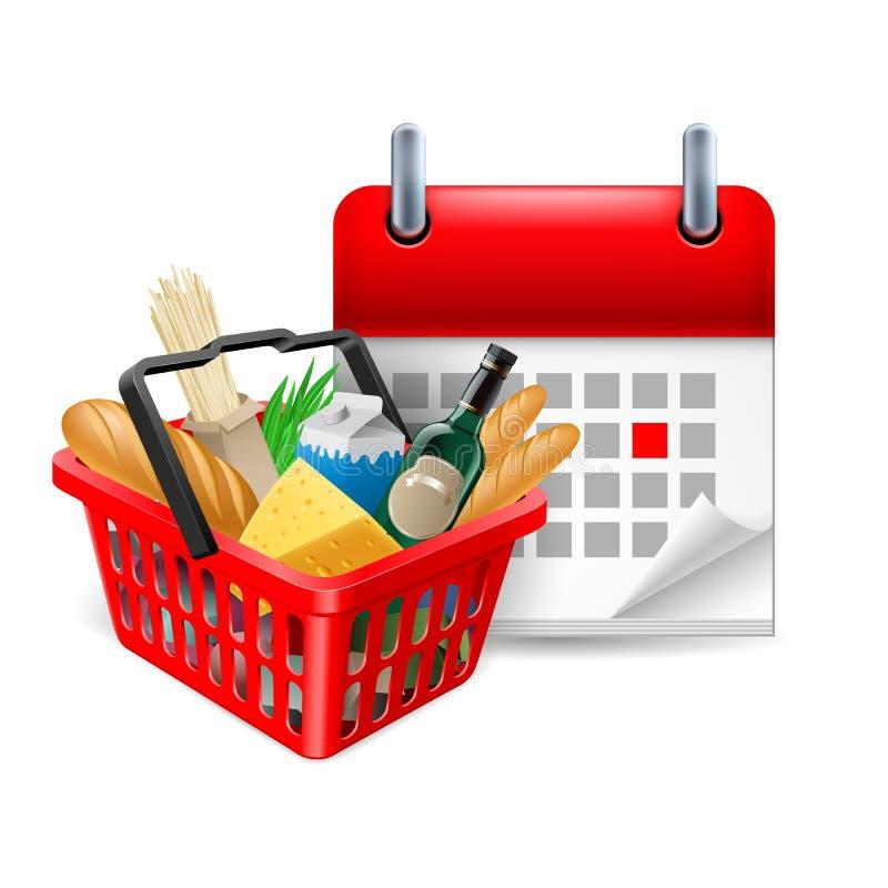 Cesta e calendário do alimento ilustração stock