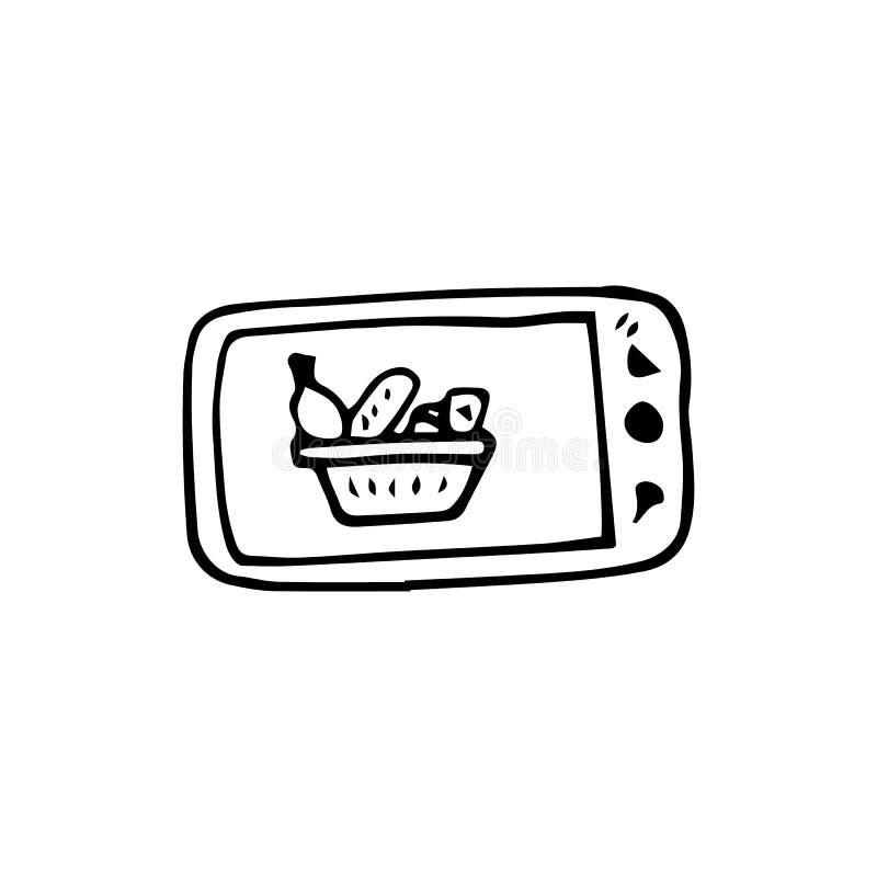 Cesta exhausta de la mano en el garabato de la pantalla del teléfono Icono del estilo del bosquejo Elemento de la decoraci?n Aisl stock de ilustración