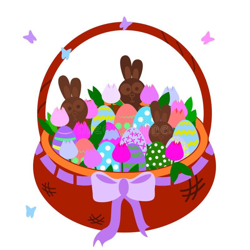 Cesta marrón de mimbre con los tulipanes, huevos coloridos, liebres del chocolate Objeto del ejemplo del vector para las tarjetas ilustración del vector