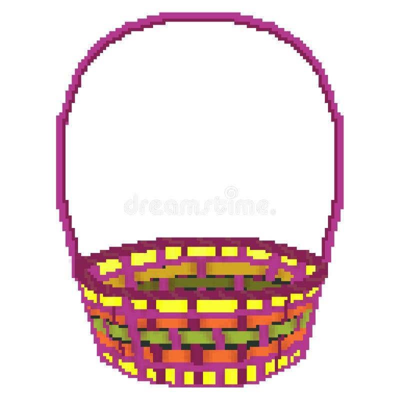 Cesta multicolora exhausta de la caza del huevo de Pascua del pedazo del pixel 8 ilustración del vector