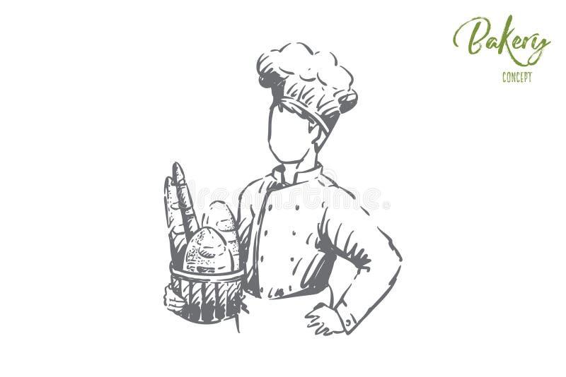 Cesta nova da terra arrendada do cozinheiro com cozimento delicioso, baguette e o naco longo, pessoal da padaria, empregado da pa ilustração do vetor