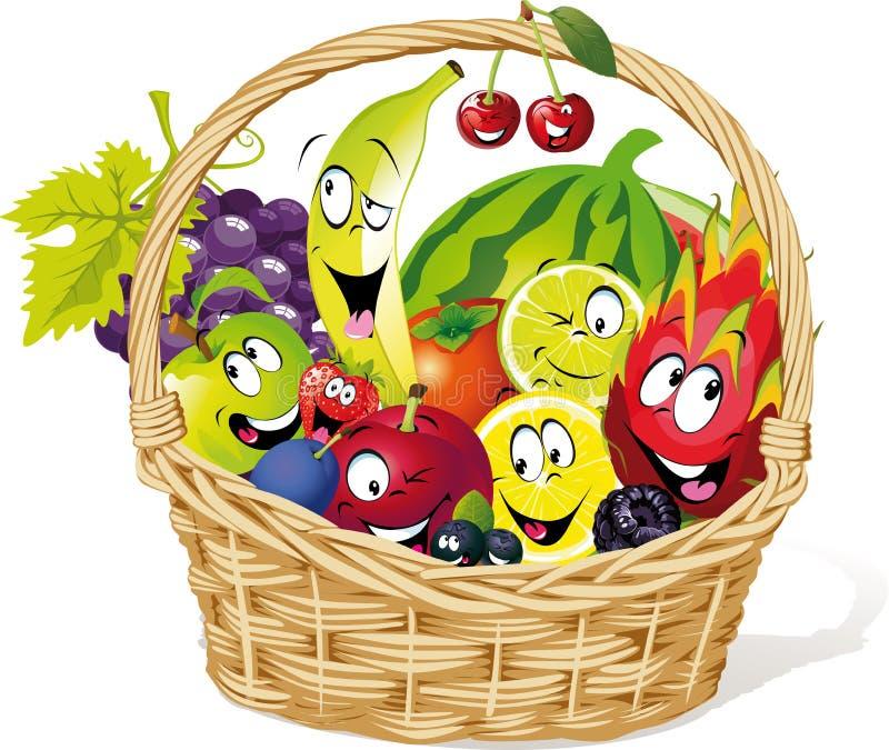 Cesta por completo de historieta del carácter de la fruta - vector el ejemplo ilustración del vector
