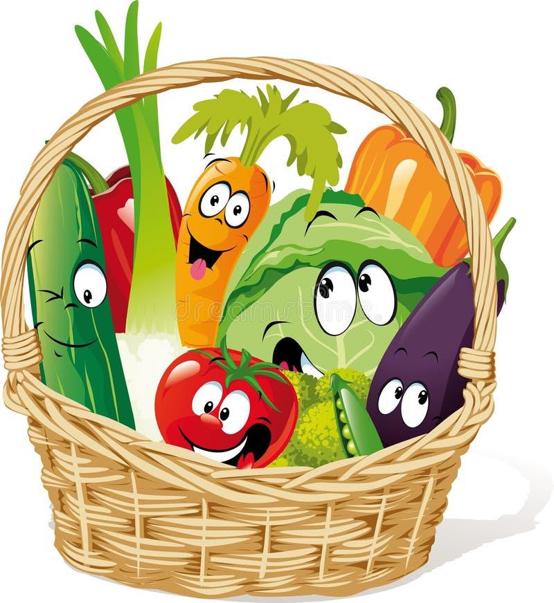 Cesta por completo de historieta vegetal del carácter - vector divertido ilustración del vector