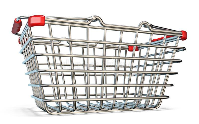 Cesta que hace compras de acero 3D stock de ilustración