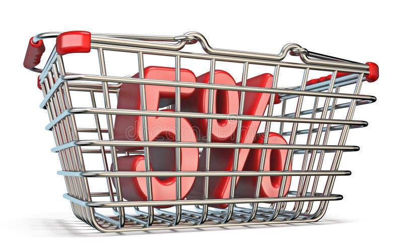 Cesta que hace compras de acero muestra del 5 POR CIENTO 3D ilustración del vector
