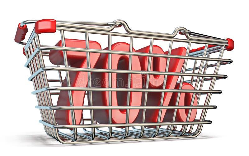 Cesta que hace compras de acero muestra del 70 POR CIENTO 3D libre illustration