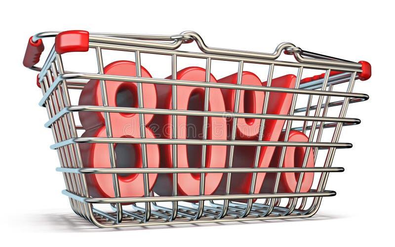 Cesta que hace compras de acero muestra del 80 POR CIENTO 3D libre illustration