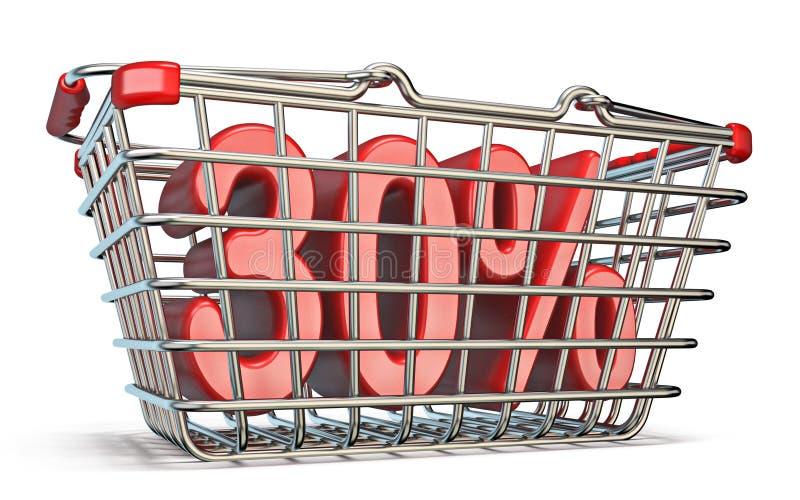 Cesta que hace compras de acero muestra del 30 POR CIENTO 3D stock de ilustración