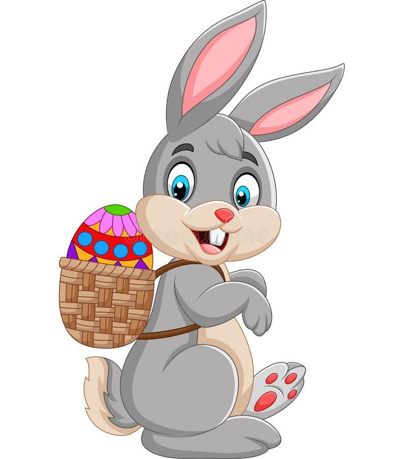 Cesta que lleva del conejito de pascua de huevo de Pascua stock de ilustración