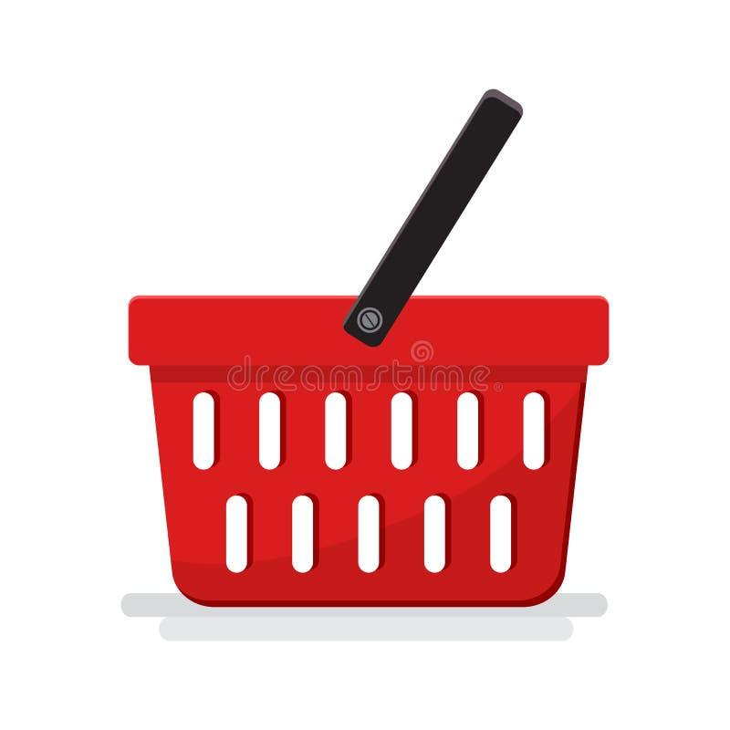 Cesta vacía plástica con el supermercado Ilustración del vector stock de ilustración