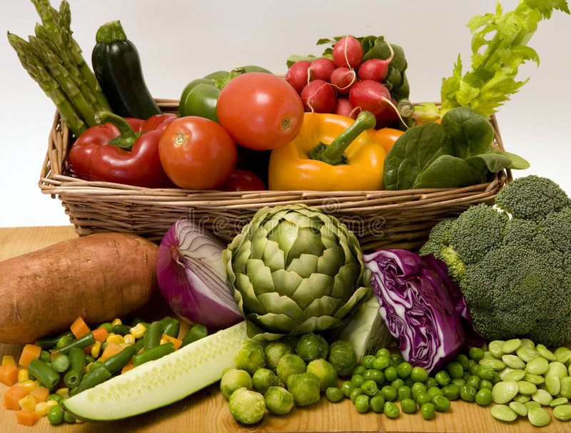 Cesta vegetal fotos de stock royalty free